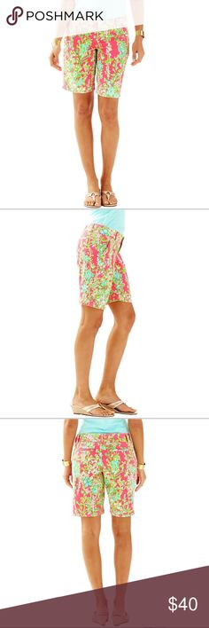 """NEW Lilly Pulitzer Chipper Bermuda Shorts Pink New with tags!!! Throw on a polo and the Lilly Pulitzer 10"""" Chipper Bermuda Short in Flamingo Pink Southern Charm and hit the links, Beach or Picnic in style. 10"""" Inseam Bermuda Length Hook And Bar Closure Vintage Dobby-Print (100% Cotton) Machine Wash Cold. Perfect Preppy walking shorts! Lilly Pulitzer Shorts Bermudas"""