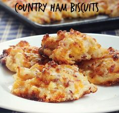 Country #Ham #Biscuits - Smoky ham and sharp #CheddarCheese give these drop biscuits a savory flavor.