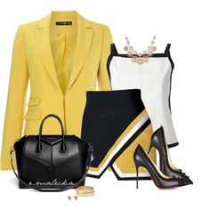 A fashion look from January 2015 featuring Courrèges tops, Hallhuber blazers and Christian Louboutin pumps. Browse and shop related looks.