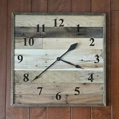 square wood clock Pallet Wood Clock Large Wall Clock laser engraved Rustic Home Decor Industrial Wall Clock SEALED rustic wall clock Rustic Wall Clocks, Wood Clocks, Wood Wall Decor, Wood Pallets, Pallet Wood, Pallet Clock, Pallet Home Decor, Wall Clock Design, Clock Wall