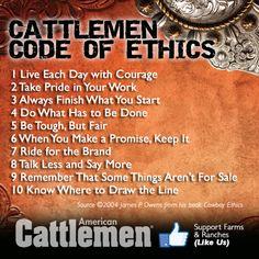 Cattlemen Code Of Ethics www.americancattlemen.com