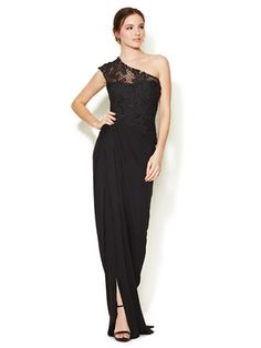 Monique Lhuillier Jersey Embellished Lace One Shoulder Gown