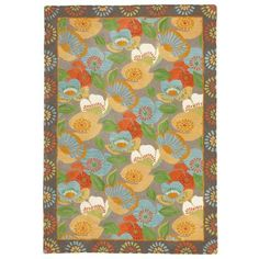 Poppies Rug in Driftwood (border Pattern, Rug Sample) | Handmade Area Rugs from Company C