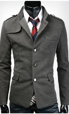Mens modern single breasted jacket with unique collar and shoulder available in US S-L. #modern #menswear