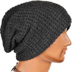Mens Slouchy Long Beanie Knit Cap for Summer Winter Oversize (Dark Gray)
