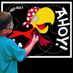 Pin the Eyepatch on the Parrot - Awesome Pirate Party game! #YoYoBirthday
