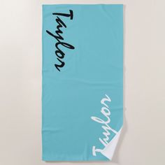 Shop Blue Teal Custom Name Personalized Beach Towel created by BiskerVille. Personalize it with photos & text or purchase as is!