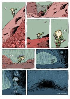 """""""This comic was inspired by a Superbrothers article (presented by Brandon Boyer) that really hit home for me. I wanted to challenge myself to write a wordless Zelda comic that sort of played with the subtle magic of the series; exploring, discovering mysterious caves, etc."""""""