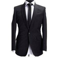 Men suits, Mens Clothing, Made Korean men shawl collar Slim black wool suit / wedding dress / groom suits genuine