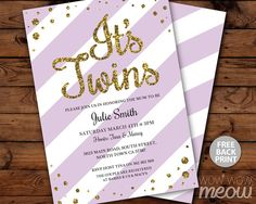 It's TWINS Baby Shower Invitation INSTANT DOWNLOAD by wowwowmeow