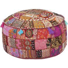 plum patch round pouf ottoman with recycled fabrics