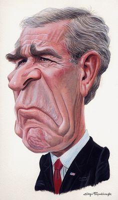 George W. Bush printed at Caricature Collection  ~ Ʀεƥɪииεð вƴ╭•⊰✿ © Ʀσxʌиʌ Ƭʌиʌ ✿⊱•╮