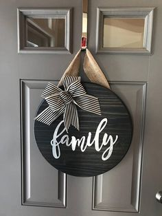 Front door decor, front door wreaths, front door signs, new home gifts, Front Door Signs, Front Door Decor, Front Porch, Front Doors, Home Crafts, Diy Home Decor, Diy Crafts, Wooden Door Hangers, Creation Deco