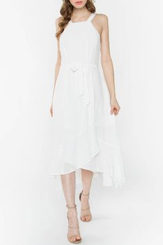Light weight fabric with a wrap look and mild high-low hem line. Airy White Dress by Sugarlips. Date Night Dresses, Chic Dress, White Fabrics, Hemline, Designer Dresses, Dress Outfits, Cold Shoulder Dress, Color, Clothes