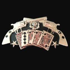 Poker Belt Buckle Guns Revolvers Saloon Gambling Cards Games Buckles Belts Cool Belt Buckles, Western Saloon, Military Guns, Poker, Card Games, Revolvers, Big, Belts, Cards