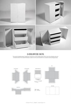 3-Drawer Box – FREE resource for structural packaging design dielines: