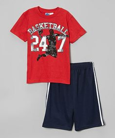 Love this Red 'Basketball 24/7' Tee & Shorts - Toddler & Boys on #zulily! #zulilyfinds