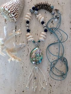 Stunning Double wrap Necklace with Tassel Gray Crystals Starfish Hand knot Bohemian Jewelry