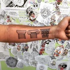 Greek column tattoo by En su tinta Estudio for Ezequiel Tejero www.ensutintaestudio.com www.ezequieltejero.com