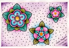 Vorssa Ink by Kata Puupponen Tattoo Flash Print Sheet flowers    - A4 (210x297mm)