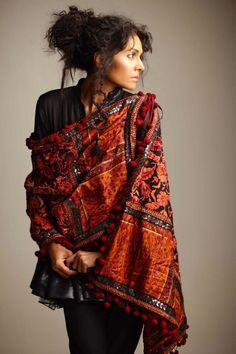 Pakistan South Asian desi casual wear. Pom pom shawl, pom pom trim. black and orange.