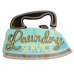 This reproduction metal sign fits right in with any vintage style laundromat or dry cleaners theme. Cool, nostalgic wall decor for a bathroom or laundry room. Made of die cut tin. Measures 19W x 13H inches.