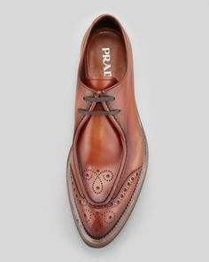 Prada Runway Lug-Sole Wing-Tip, Brown.