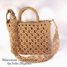 Macrame Bag Dance Of Leaves woman beige lace braided by makrame