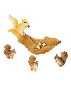 Look at this #zulilyfind! Fairy Garden Squirrel & Leaf Set #zulilyfinds