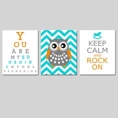 Modern Nursery Art Trio You Are My Sunshine Eye Chart by Tessyla