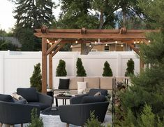 Make a gorgeous and relaxing outdoor retreat right in your own backyard! There's a pergola for everyone. Melissa Long-Evans Align Right Today For A Better Tomorrow Diy Outdoor, Diy Outdoor Seating, Vinyl Privacy Fence, Patio Room, Outdoor Retreat, Outdoor Sofa Diy, Outdoor Living Space, Backyard Projects, Cool Fire Pits
