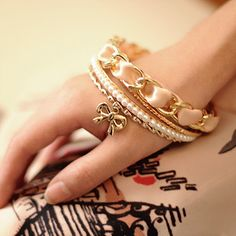 The ribbon bracelet female multilayer woven rope wide bracelet pearl bow bracelet , shop at Costwe.com