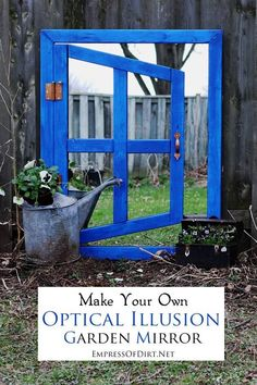 Want to start your own secret garden? See how to make your own optical illusion garden mirror. There's a simple trick that makes this project much easier than it looks! Diy Garden Projects, Garden Crafts, Outdoor Projects, Art Projects, Yard Art, Outdoor Art, Outdoor Gardens, Outdoor Mirror, Garden Mirrors