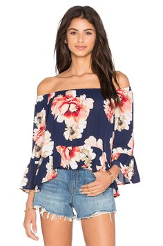 Eight Sixty Off The Shoulder Top in Navy & Multi | REVOLVE