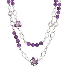 CIRO Jewelry Traviata amethyst white gold necklace. Double strand of amethyst beads & white gold chain. White & purple CIROLIT stones. Lilac enamel. 105cm long. White gold plated.