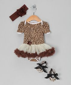 Take a look at this Brown Cheetah Skirted Bodysuit Set - Infant by Baby Gem by Royal Gem Clothing on #zulily today!