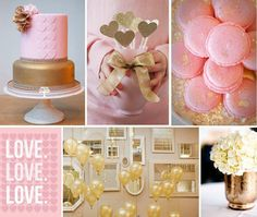 dourado e rosa