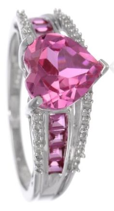 【Jewelry in My Box】White Gold Pink Sapphire with Diamond Heart Ring