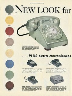 Vintage Phones, Vintage Telephone, Vintage Ads, Vintage Posters, Vintage Stuff, Vintage Logos, Old Advertisements, Retro Advertising, Retro Ads
