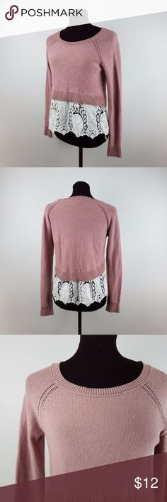 American Eagle Outfitters Women's Sweater Size: XS  Color: Pink White  Design: Long Sleeve, Crew Neck, Laced Hem  Materials: 100% Cotton  Measurements {{Measurements are approx/ colors may appear slight different}}  Chest Size: 17 inches   Shoulder to Hem: 23 inches  Sleeve Length: 27 inches (measured from neckline) American Eagle Outfitters Sweaters Crew & Scoop Necks