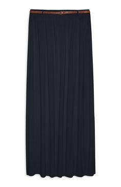 Belted Jersey Maxi Skirt