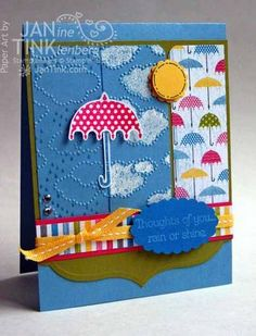 """Ingredients: Stamps - Rain or Shine; Paper - Sunshine & Sprinkles DSP, Marina Mist, Lucky Limeade, Whisper White, Melon Mambo, Pacific Point, Daffodil Delight; Ink - Whisper White, Marina Mist, Melon Mambo; Other - Labels Collection Framelits, Cloudy Day embossing folder, Borders Scoring Plate, Scallop Oval punch, 1-1/4"""" scallop circle punch, 1"""" circle punch, Pacific Point marker, clear EP, Daffodil Delight stitched grosgrain, dimensionals, Signo white gel pen, metallic brads."""