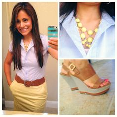 Tan pencil skirt, light blue button up shirt, brown belt. (Love that she belted this even though she had no belt loops)
