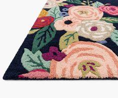 Juliet Rose Wreath Indigo Wool-Hooked Rug | Rifle Paper Co. Rifle Paper Co, Rug Hooking, Wool Yarn, Innovation Design, Cotton Canvas, Hand Carved, Indigo, Artisan, Bloom