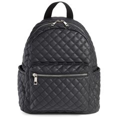 Junior Women's Amici Accessories Faux Leather Quilted Backpack ($49) ❤ liked on Polyvore featuring bags, backpacks, accessories, backpack, black, day pack backpack, backpack bags, rucksack bags, vegan leather backpack and zip bag