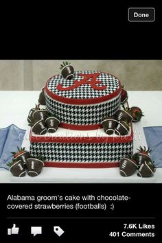 Houndstooth grooms cake... cause he is a Bama fan!