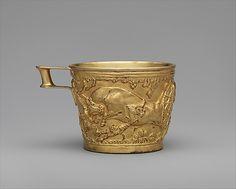 Name: Gold Cup from Vapheio.  Period: Late Helladic IDate:ca. 1600-1450 B.C.  Culture: Mycenaean   Medium:gold electrotype  Source: The Metropolatin Museum of Art