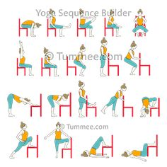 Chair Hip Opening And Strength Flow Yoga Yoga Iyengar, Bikram Yoga, Chair Exercises, Yoga Exercises, Balance Exercises, Yoga Moves, Chair Pose, Chair Yoga Poses, Hard Yoga