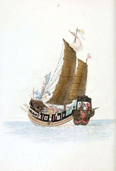 The costume of China, illustrated in forty-eight coloured engravings Junk Ship, Forty Eight, Chinoiserie, Sailing Ships, Big Ben, Art Reference, Boat, Online Library, China