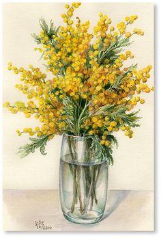 Easy Landscape Paintings, Watercolor Landscape, Watercolor Flowers, Watercolor Paintings, Art Floral, Pink Blossom Tree, Flowers In Jars, Plant Painting, Vintage Flowers